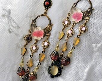 Flower rain drops - Art Nouveau style very long chandelier tiered earrings in pastel creamy yellow and watermelon pink