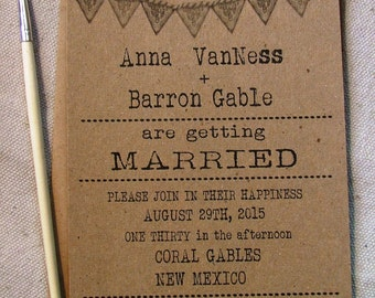 Wedding Invitations: simple typewriter font with doily banner