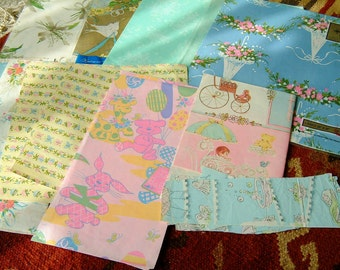 Vintage 1960's Wrapping Paper Pieces Bridal Shower Wedding and Baby Shower Gift Wrap Ephemera