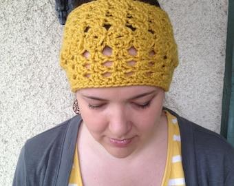 Crochet PATTERN Olivia Headwarmer chunky lacy reversible headband / ear warmer (adult size)
