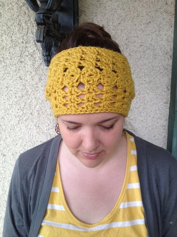 Crochet PATTERN Olivia Headwarmer chunky lacy reversible
