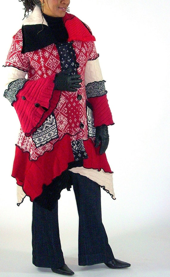 Sweater Coat, Red, Black and White Norwegian Pattern , Petunia Style, Size Medium ( 10-12-14)