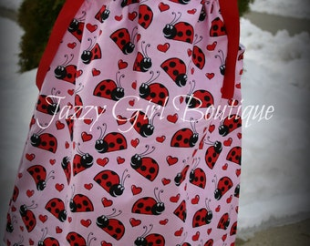 Girls Valentine Pillowcase Dress Love Bugs.  Sizes 6mo - 5T.  Sizes 6-8 Available for an Additional Charge.