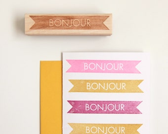 Bonjour, Hello Rubber Stamp in French, Modern Typographic Design (Wood Mounted) with optional wooden handle (S111) Stocking Stuffer