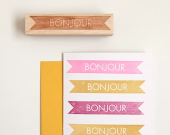 Bonjour, Hello Rubber Stamp in French, Modern Typographic Design (Wood Mounted) with optional wooden handle (S111)