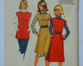 1980s vintage original Burda 7 0629 sewing pattern for women's overdress or tunic Size 10, 12, 14