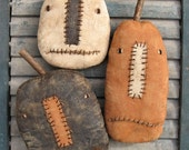 Three Jacks EPATTERN...primitive country halloween pumpkin cloth doll craft ornament digital download sewing pattern...PDF...1.99