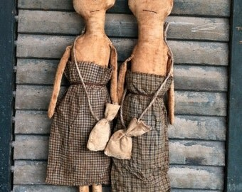 Tess & Bess EPATTERN-primitive cloth doll country craft digital download sewing pattern-PDF-1.99