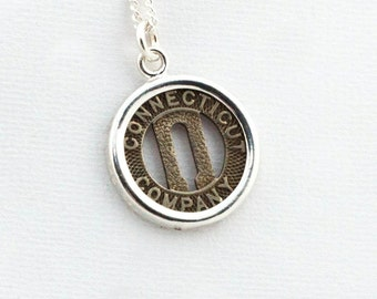 Connecticut Company New Haven Token Sterling Silver Pendant and Necklace