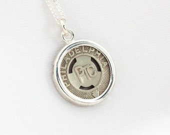 Philadelphia Transportation Company Token Sterling Silver Pendant and Necklace