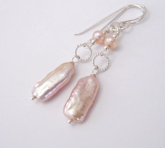 Pink Biwa Freshwater Pearl Earrings In By SendingLoveGallery