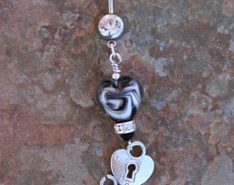 Black Heart Lampwork Glass Bead DeSIGNeR Belly Button Ring Navel Piercing Tattoo Key to My Heart