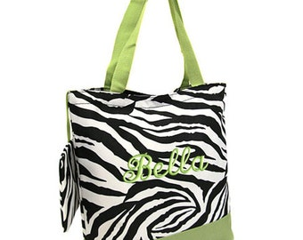 Personalized Tote Bag Zebra Green Monogrammed Wedding Dance Cheer