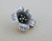 Sterling Flower Pendant Charm Bloom Karen Hill Tribe Oxidized top loop