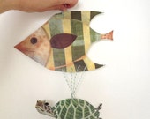DIY Printable PDF Sea Turtle Paper Puppet & Fish Card, Cute Animals, For Kids, Green, Yellow