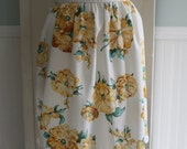 RESERVED for Susan ~ Yellow Floral Print Vintage Apron with Eyelet Trim