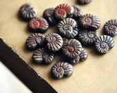 Last Listing - Old Friends - Czech Glass Beads, Opaque Marron, Picasso, Shells 16x14mm - Pc 4