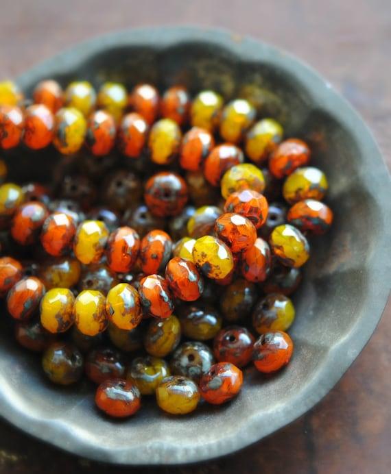 10 Bush Fire - Czech Glass Rondelle Beads