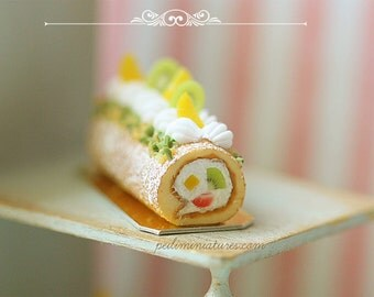 Dollhouse Miniature Food - Mixed Fruits Swiss Roll 1/12 Dollhouse Miniature Scale