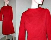 50s Era Red Mad Men Wiggle Dress Sheath Free Shipping