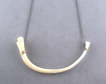 snake rib bone necklace in oxidized sterling silver
