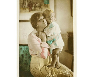 English Actress Gladys Cooper With  Baby Joan Buckmaster, Hand Colored Postcard,RPPC,Mother And Child