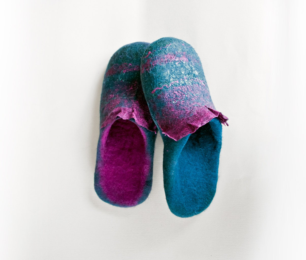 felted slippers house shoes pink by burebureslippers