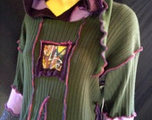 RESERVED FOR SMCMONT - Cashmere Olive Green Blue Lilac A Line Swing Woman Sweater Dress Tunic Recycled Repurposed Elf Fairy Hoodie Appliqued