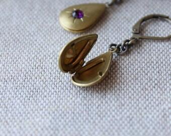 Locket Earrings, Secret Compartment, Amethyst Rhinestone, Purple Glass, Vintage Locket, Raw Brass, Teardrop Earrings