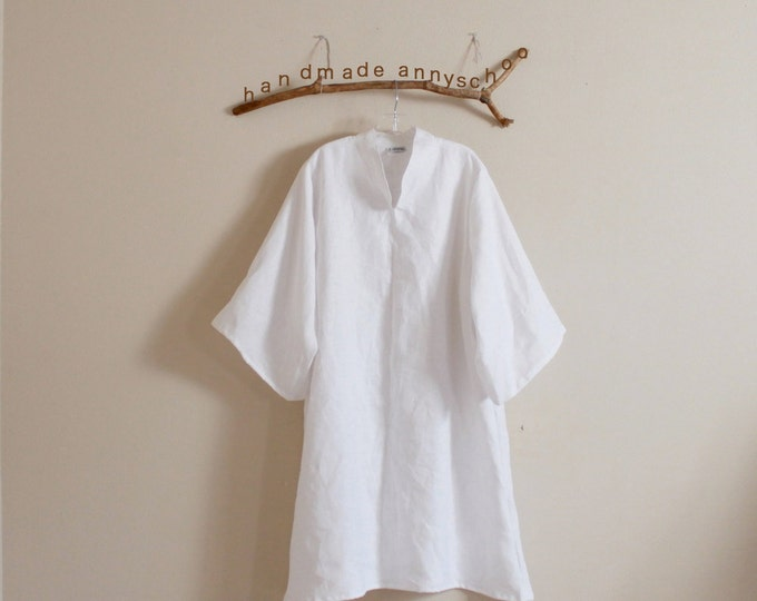 handmade to measure plus size chipao collar tunic dress / elegant linen tunic dress / long sleeves / custom color and size / simple dress