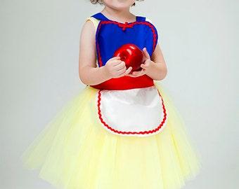 Childrens apron for girls Snow White tutu apron Princess childrens full apron birthday kids apron  gift