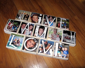 Christmas gift with PHOTOS- PERSONALiZED Photo Blocks- Set of 13- LIVE Laugh LOVE- custom lettering, photos and colors
