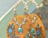 Lilygrace Aqua Tropical Flower Long Dangle Earrings with Vintage  and Freshwater Pearls