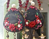 Lilygrace Black Mary Poppins Bag Earrings with Vintage  and Freshwater Pearls