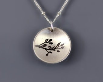 Cupped Bird on Branch Necklace - Etched Silver Pendant - Elegant Spring Jewelry - Nature Drawing Collection