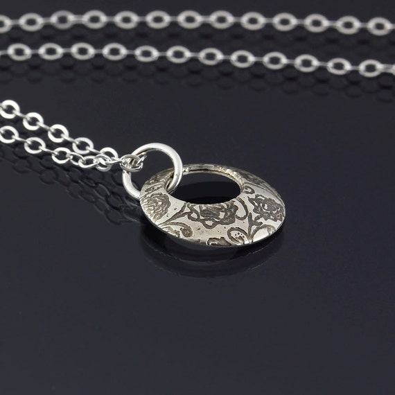 Small Rose Garden Loop Necklace - Etched Sterling Silver Pendant