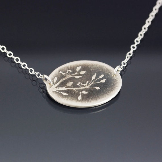 Two Birds on Branch Etched Sterling Silver Necklace -MADE TO ORDER