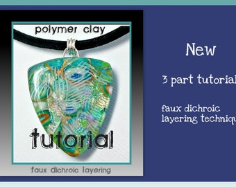 polymer clay Tutorial- Faux Dichroic Tutorial- Pendant Tutorial- Jewelry Tutorials- Polymer Clay Jewelry- PDF Tutorial