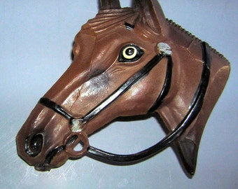 Early Plastic Horse Head Brooch Pin Vintage 50s Retro Kitsch - Equestrian Gift