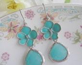 Aquamarine Flower Dangle Earrings with Silver Edge, Two Tier, Color Block, Bridesmaid Earrings, Wedding Earrings