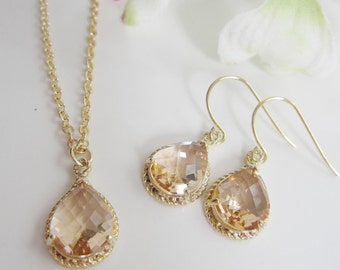 Peach blush Earring Necklace Set, Bridesmaid Jewelry, Gold Earrings, Blush Peach Glass, Glass Drop Necklace, Blush Champagne Jewelry,