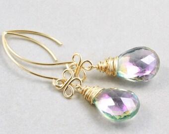 Mystic Topaz Dangle Earrings, Gemstone Drop Earrings, Purple Green Earrings