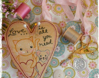 Love Cat Mouse pincushion scissor fob Pattern PDF - embroidery stitchery Chatelaine instant download ribbon primitive