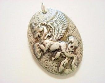 Pegasus Handmade Black and Metallic Polymer Clay Pendant