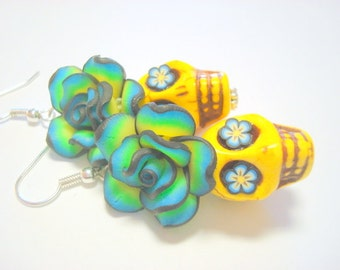 Yellow and Blue Day of the Dead Roses and Sugar Skull Earrings