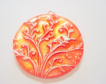 Bright Red, Silver, and Interference Gold Birds in Tree of Life Handmade Polymer Clay Pendant