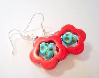 Day of the Dead Sugar Skull Earrings Red and Turquoise Skull Jewelry