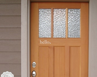 hello heart Front Door  - Vinyl Lettering - Front Porch Entry Way Decal - Wall Decal - Home - Vinyl Wall Art Graphic Stickers Decals 1509