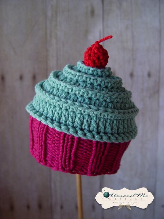 Knitting Pattern For Baby Cupcake Hat : PDF Crochet Pattern and Crochet/Knit pattern Baby Cakes
