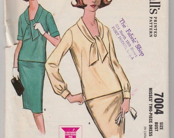 "Vintage Sewing Pattern Ladies' Two Piece Dress Blouse and Skirt McCall's 7004 34"" Bust"